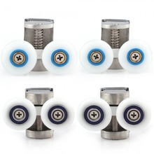 4 Twin top and Twin Bottom Zinc Alloy Shower Door Rollers/Wheels 23mm