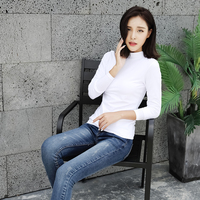 Basic fashion custom logo plain blank slim fit cotton high collar ladies t shirts