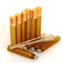 amber 5ml empty roll on glass bottle with stainless steel roller ball for essential oil