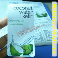Custom Self Adhesive Laminated Vinyl Package Labels for Coconut Water Kefir Beverage Bottles