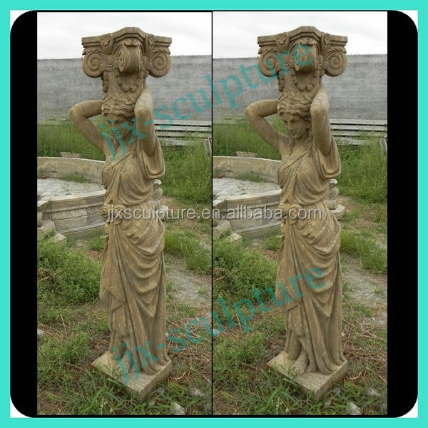Antique Stone Columns With Lady Statue