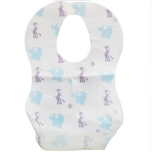 HIGH quality disposal non woven PE film animal printed baby bibs