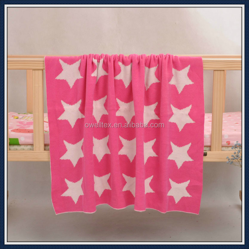 Star patterns cable cotton knitting baby blanket warm heated