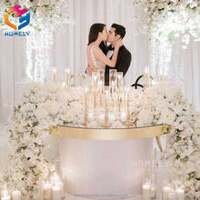 Wholesale durable round MDF LED wedding round retangular marble top crystal wedding gold stainless steel table