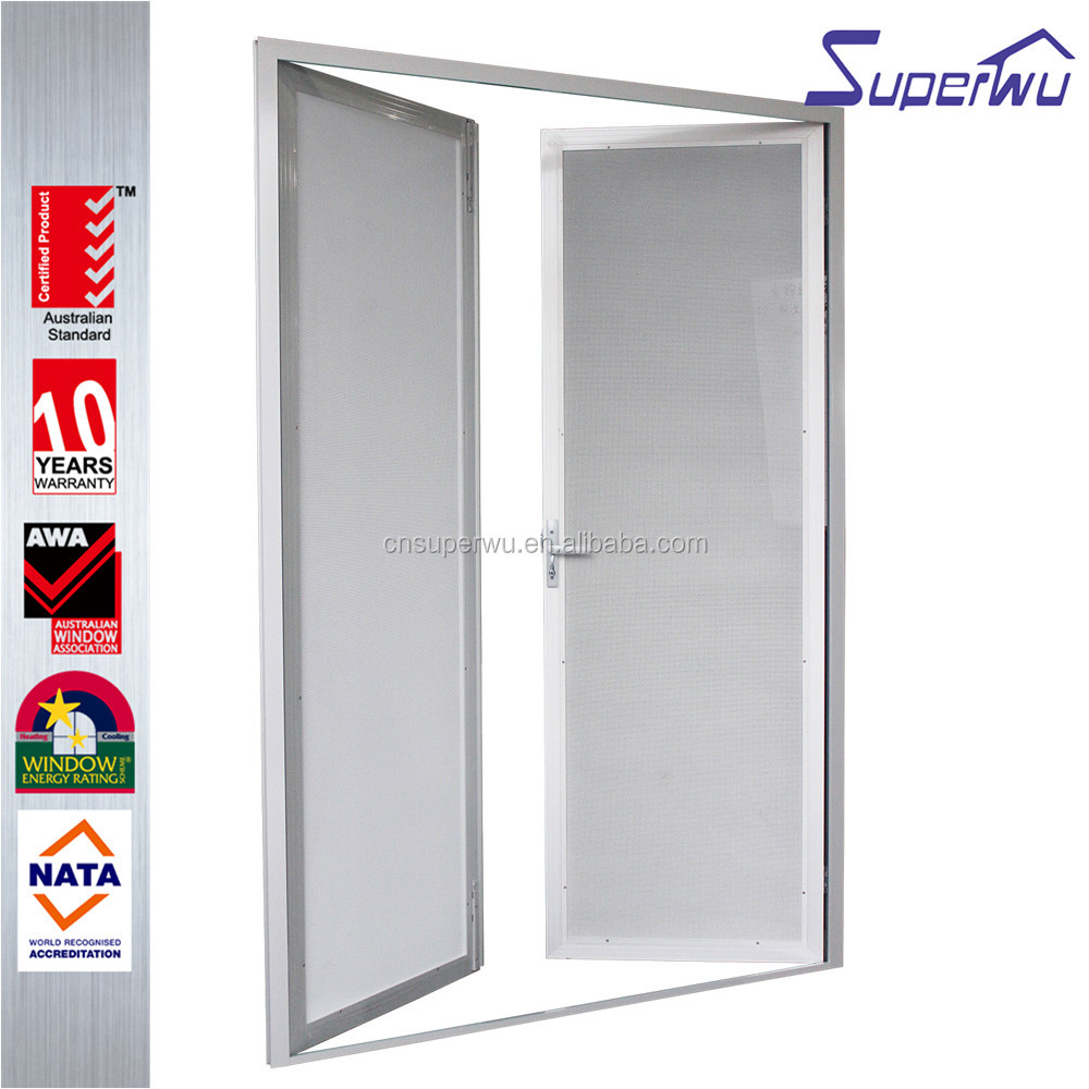 Australia design white color with fly screen aluminum frame casement door with aluminum fly screen