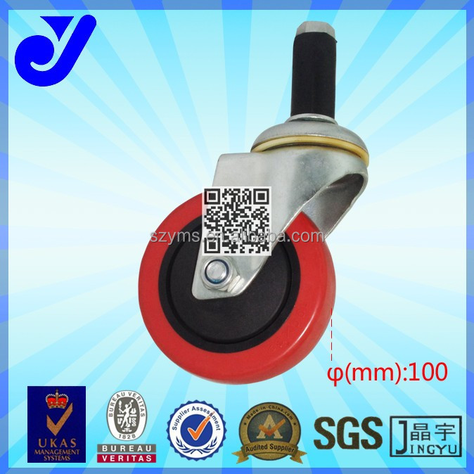 JY-404|4 inch rubber swivel wheel with brake|Hard rubber caster wheel|Mute hand trolley caster wheel