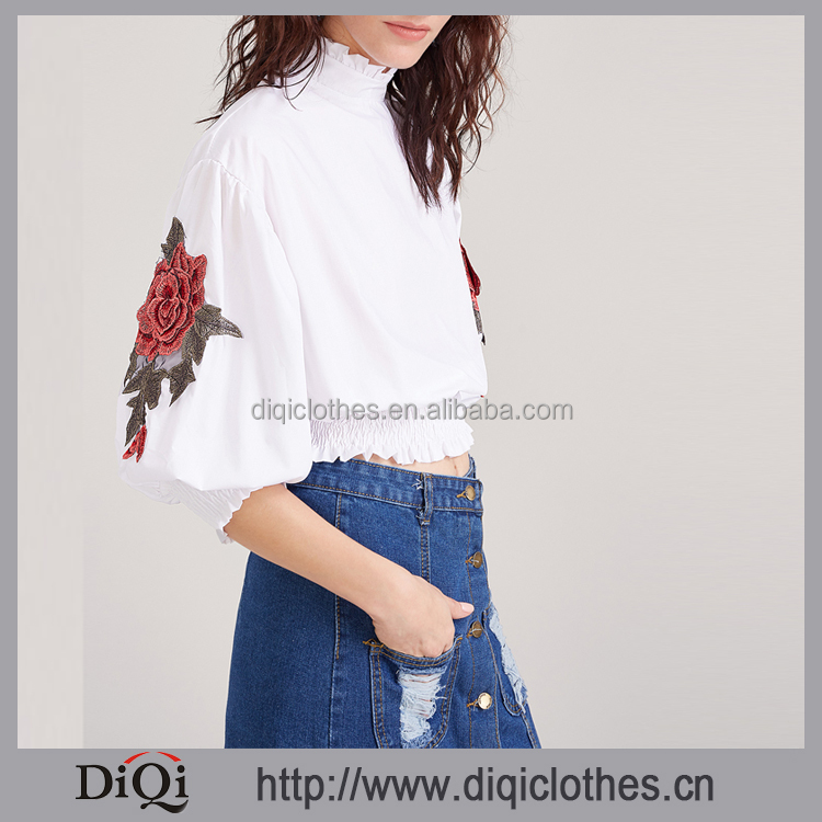 2017 new designs wholesale price stylish ladies White Flower Embroidered Lantern Sleeve Shirred Hem Blouses