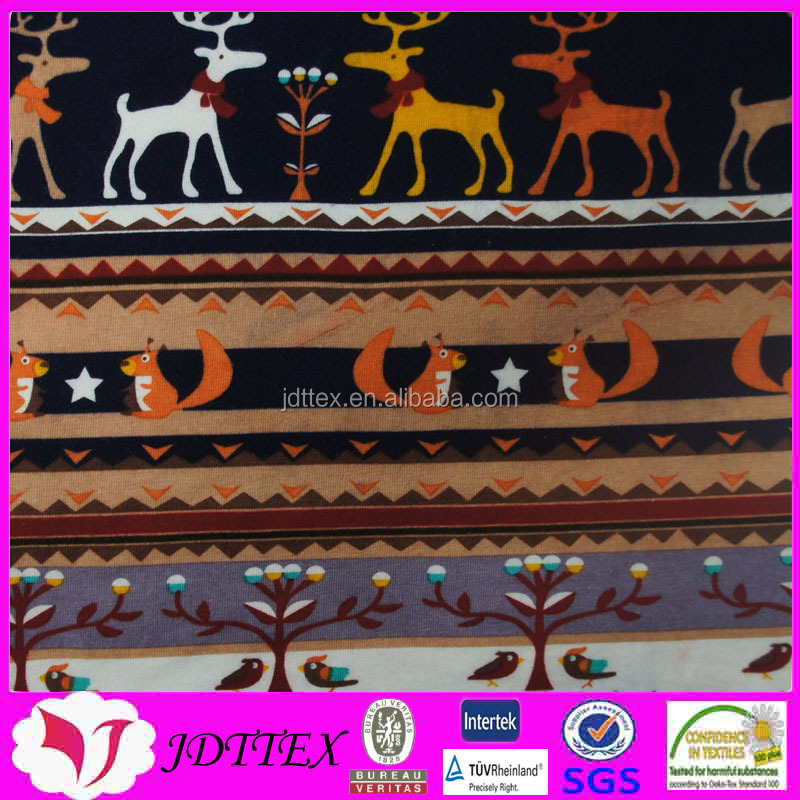 5 spandex 95 cotton combed cotton elk squirrel printed fabric for christmas children clothing