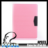 Beautiful pink color plain fancy smart cover for ipad air 2 with stylus holder