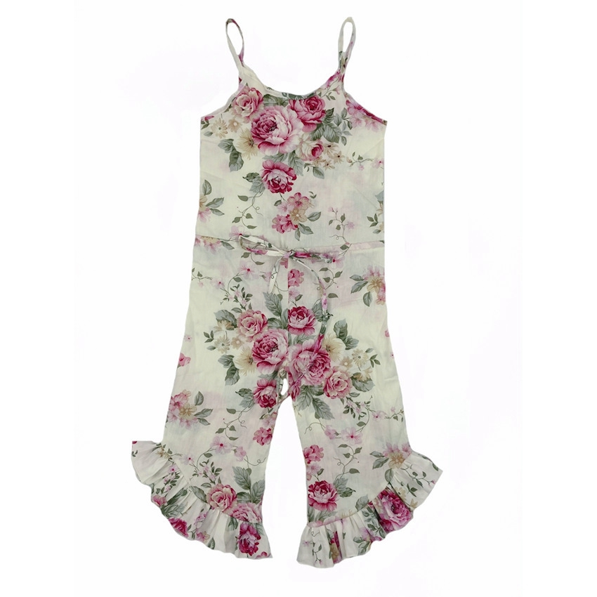 2019 girls cotton overall baby sunflower strap jumpsuits Drawstring one piece flare pants