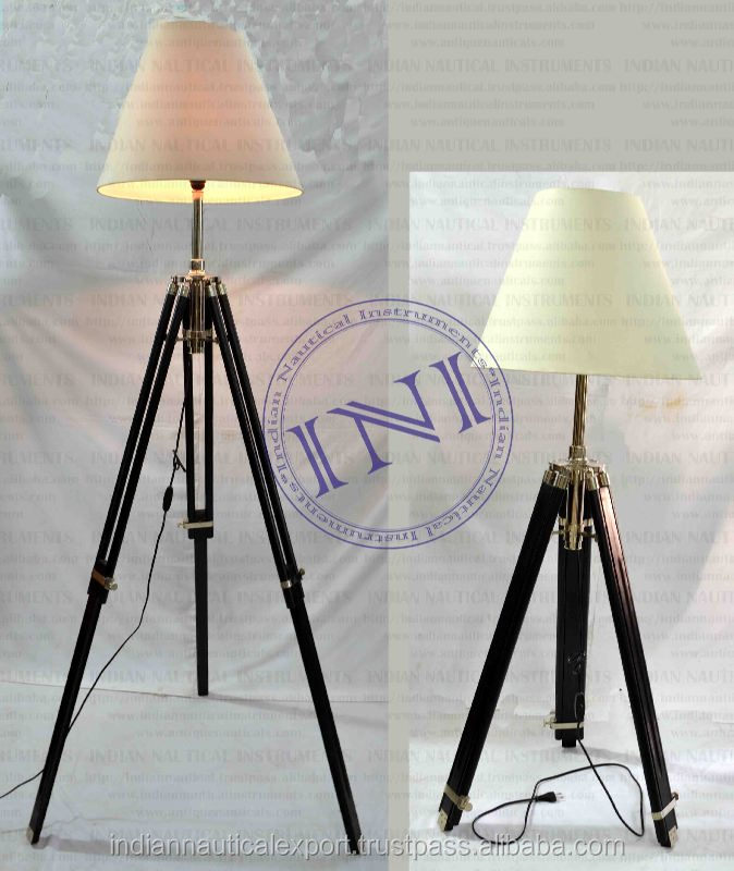 New Table lamp With Wooden Stand, Steel Designer Long Lamps, Indoor Standing Lamps