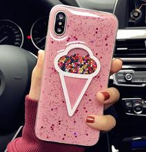 Hard plastic customized phone glitter case for iphone X