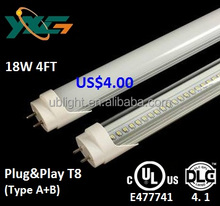 DLC listed 100-277V AC 4FT replace T8 fluorescents 18w compatible ballast led tube