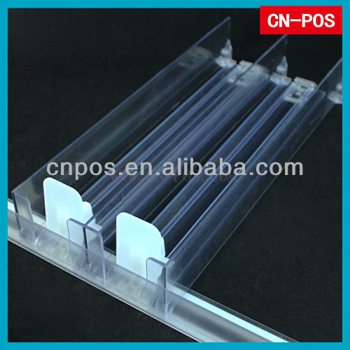 supermarket plastic shelf pusher for stop disordered