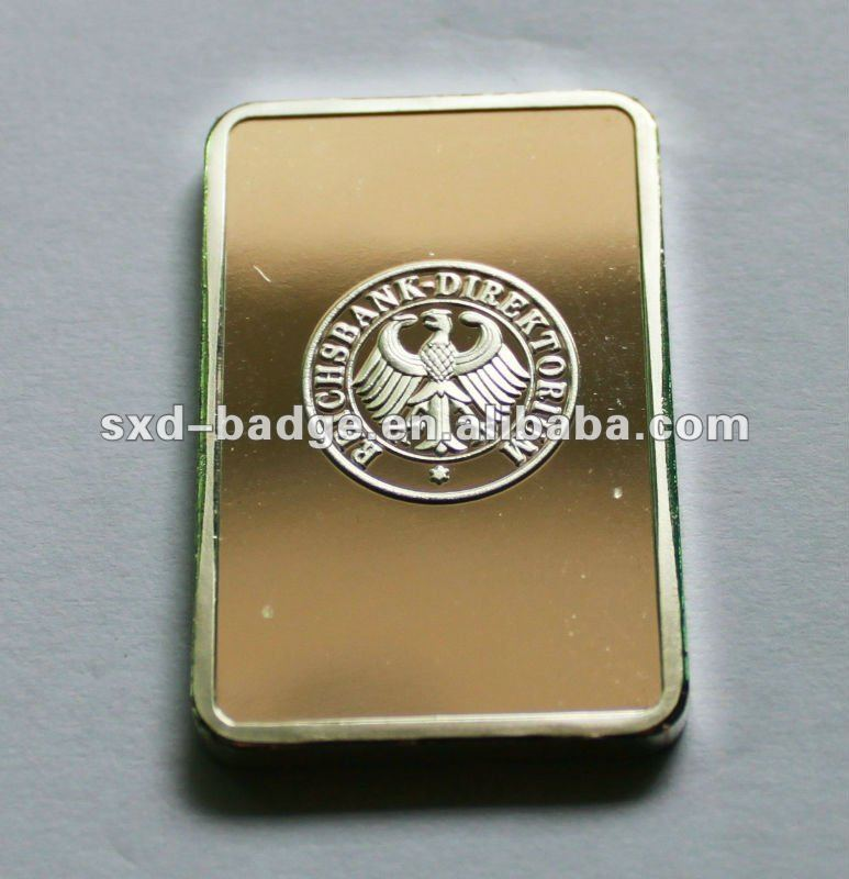 Souvenir Tungsten gold plated ingot for chinese style
