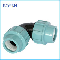China supply PP Compression Fittings irrigation 90 degree bend Elbow