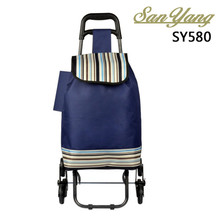 Grocery laundry utility cart folding vegetable shopping trolley bag with 2 wheels