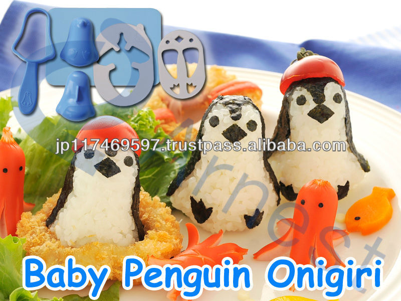 japanese food kitchenware children gift animal toy bento lunch box rice bowl ball set Baby penguin onirigi