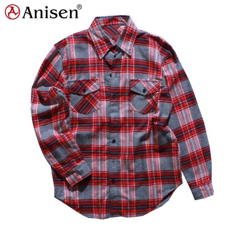 latest design fashion dress autumn long sleeve casual clothing flannel men plaid shirts
