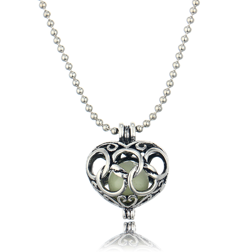 Hollow Heart Pendant Luminous Glow In The Dark Locket Necklace pendant