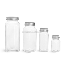 plastic water bottle Clear PET Square Bottles with Lined Aluminum Caps(2.4.8.`16)