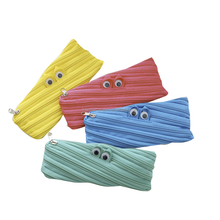 Simple ,Cute Large Capacity Canvas Small Monster Zipper Pen Bag,Pencil Case