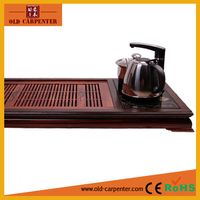 Latest big wooden tea tray with electric induction cooker and stainless steel cattles