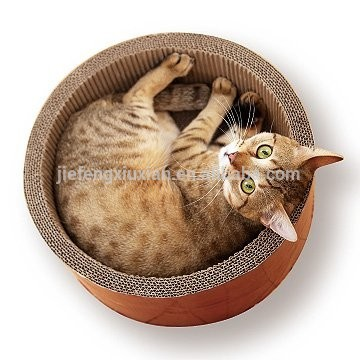 Round Cat Lounge Corrugated Cardboard Furniture Scratching Bed