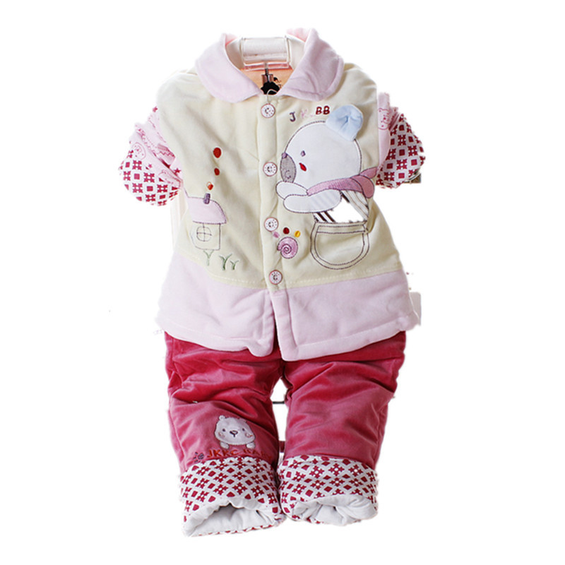 New Arrival 2015 Winter Warm Unisex Baby Clothes 2 Piece Cute Cartoon Bear Baby Boy Clothes Velet Carters Baby Girl Clothing Set