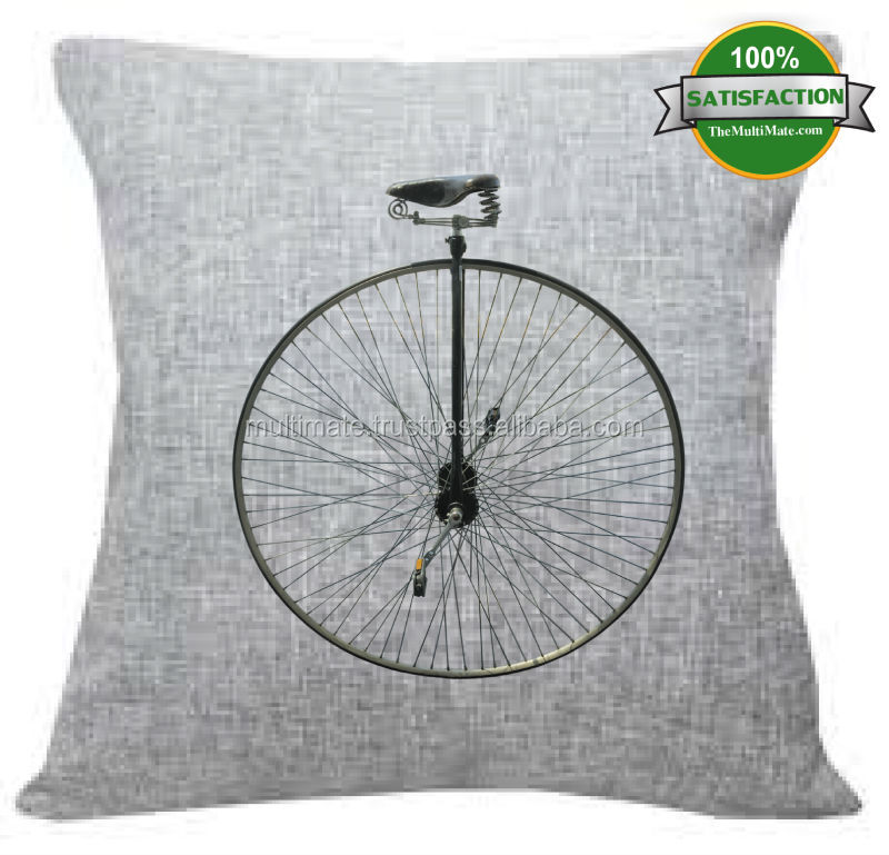 old bike printed linen vintage 45x45 natural fabrics cushion covers