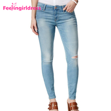Fashion Women Blue Tight Ripped Jeans 2017