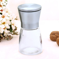 rustless steel mamual hand-operated pepper mill,glass bottle/spice mill