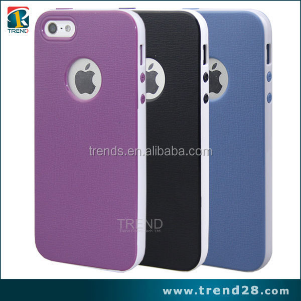 high quality logo hole design tpu pc cell phone case cover for iphone 5 5s