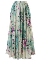 2015 Women Dot Mesh Frill Floral Maxi Skirt flare print silky Long skirt