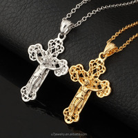 U7 Cross Pendant Necklace Vintage Pattern Platinum/18K Real Gold Plated Fashion Women/Men Jewelry Wholesale