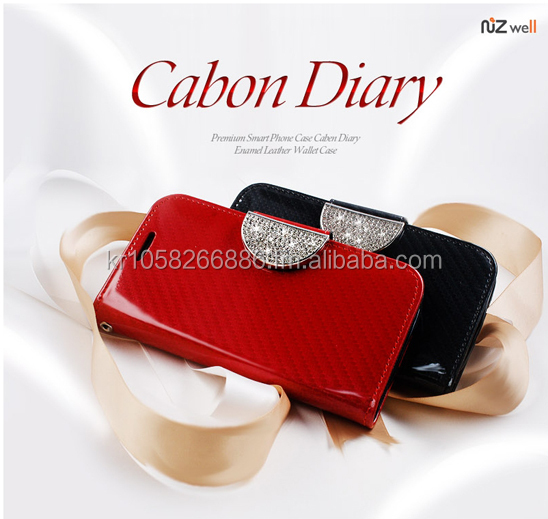 NIZWELL Carbon Diary Wallet Phone Case for Apple iPhone 5 5s Enamel Carbon Pattern Handmade Fashion Item Cubic Holder