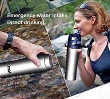 New 304 stainless steel outdoor portable water filter with Activated Carbon Filtration System Stainless Steel Water Bottle