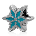 Blue Enameled Zircon Snowflake 925 Sterling Silver European Charm Beads For DIY European Bracelet Necklace Making SEPB2103