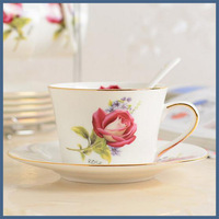 Luxurious fancy bone china ceramic coffee cup and saucer