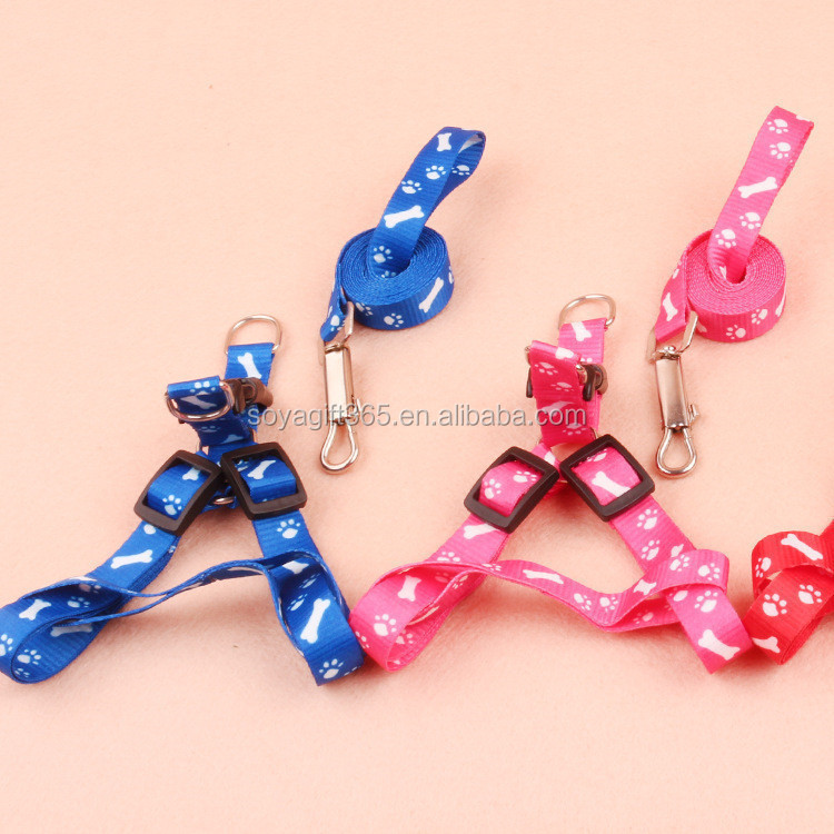Fashion Bone Printed Small Dog Pet Puppy Cat Adjustable Nylon Harness With Lead Leash