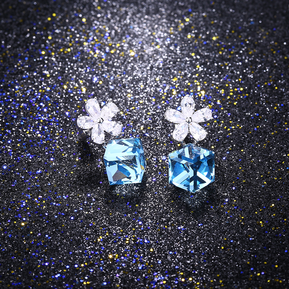 Austrian Crystal Earrings Eco-Friendly Wholesale White Gold Stud Earrings For Women 2017