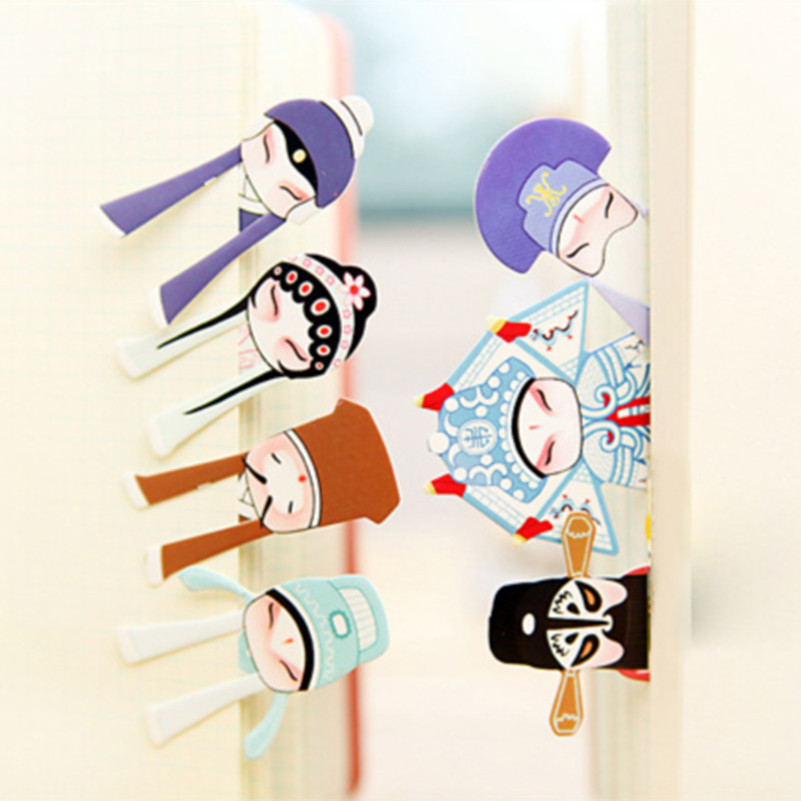 Chinese Classical Opera Bookmarks 7Pcs/set Paper Clip Memo Clip Bookmarks Chinese Characteristics Gift
