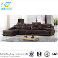 Modern style leather hotel lobby sectional sofa hot sale