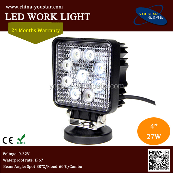 27w working light, 27w brand chip led worklight 4x4 truck 12v led work light