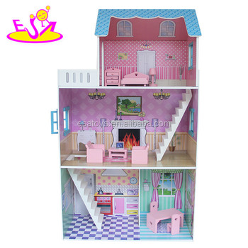 2017 best design wooden doll house,funny wooden doll house,popular wooden doll house W06A133