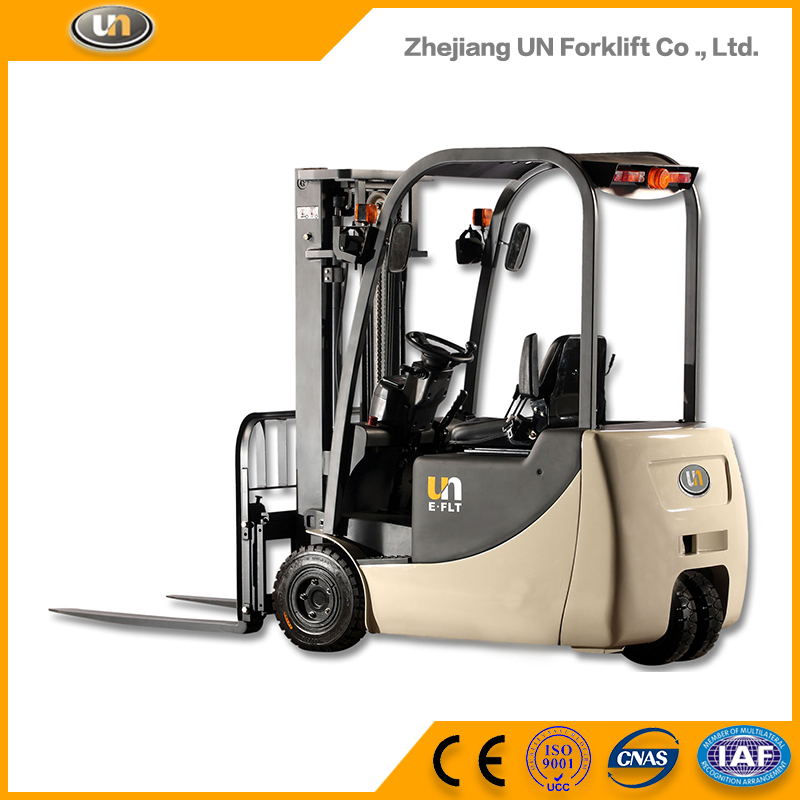 China UN Forklift 1.6T Three Wheel Electric Forklift Truck With CE Certificate