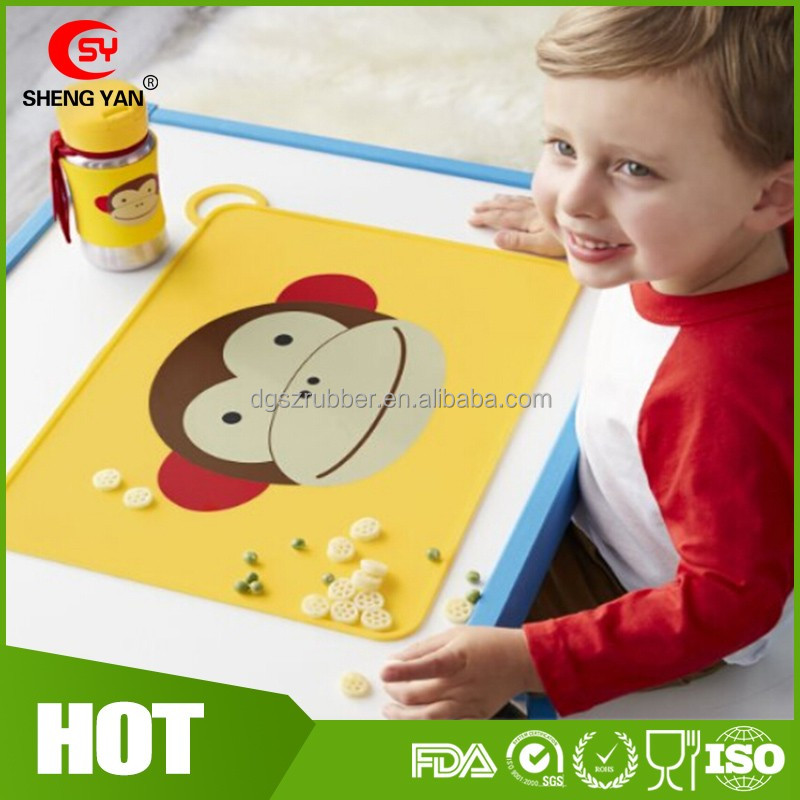 Custom Cartoon Dinning protable kids silicone placemat,silicone eat mat
