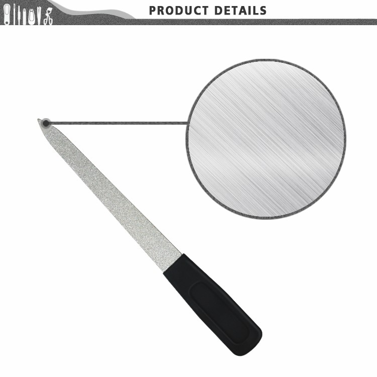 BNF0218 Stainless Steel With Soft Handle Gritty Diamond Metal Nail File