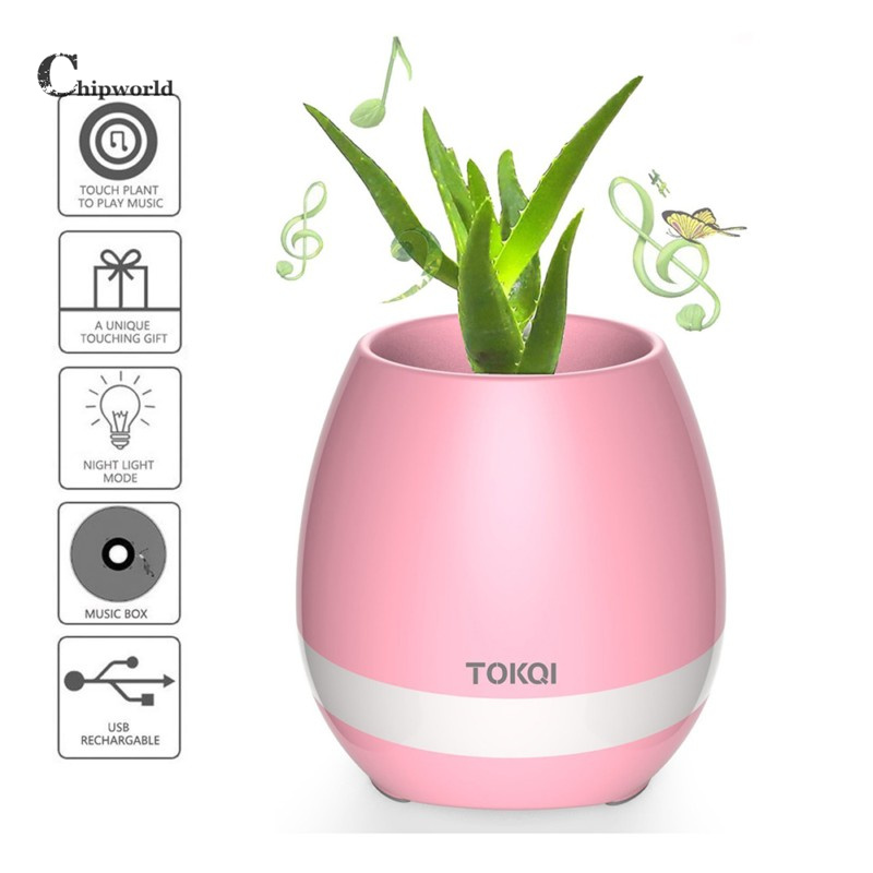 Soyeer Innovation Touching Flower Singing Plant Interaction Bluetooth Speaker LED Smart Music Flowerpot