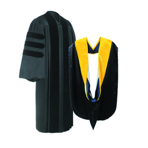 Wholesale highly quality Black doctoral graduation with hood